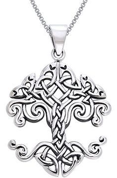 CGC Sterling Silver Celtic Knot Work Tree of Life Pendant on 18 Inch Box Chain Necklace Carolina Glamour Collection-$59.99 http://www.amazon.com