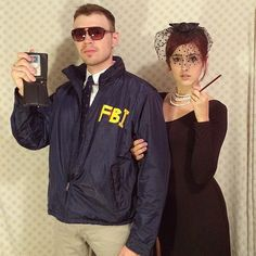 Burt Macklin, FBI, and Janet Snakehole From Parks and Recreation inspired Halloween costumes