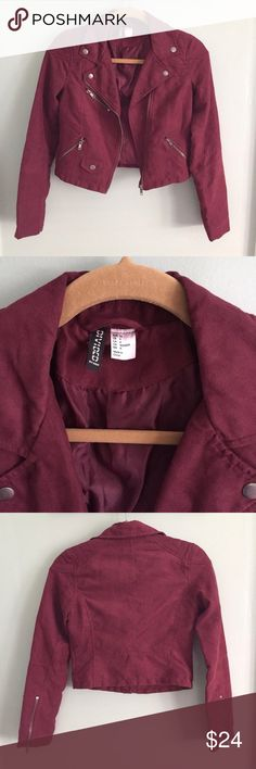 H&M Suede Jacket size 4 NWOT. H&M Divided burgundy suede cropped jacket in new condition. Soft suede. Structured fit. Gold buttons and zippers. H&M Jackets & Coats Blazers