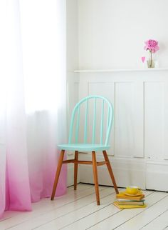 DIY – so pretty, nice styling too of course-need to figure out how to dip dye curtains