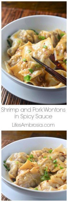 Shrimp and Pork Wontons tossed in a tangy spicy sauce. A delectable take out dish made easy at home!