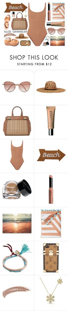 """Nude Swimwear: Perfect Vacation"" by the-amj ❤ liked on Polyvore featuring Cutler and Gross, KOCCA, Clinique, Eres, Mud Pie, Bobbi Brown Cosmetics, NYX, Serena & Lily, Billabong and Louis Vuitton"