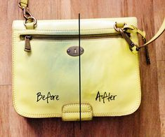 how to remove those horrible jean stains from a light colored leather purse. good to know!
