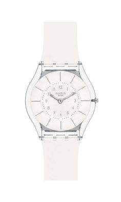 Swiss made, the Swatch watch WHITE CLASSINESS features a quartz movement, a silicone strap and a plastic watch head. Discover more Skin Classic on the Swatch United States website. Stylish Watches, Cool Watches, Watches For Men, Wrist Watches, High Jewelry, Jewelry Accessories, Jewelry Box, Jewellery, Swatch