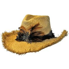 8a57ba28eb0 Cowboy Hat With Frayed Edges  amp  Feather Hatband ( 26) ❤ liked on Polyvore