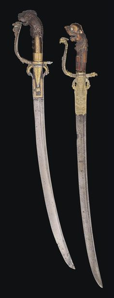 TWO SINHALESE SWORDS (KASTANES) SRI LANKA, LATE 18TH/EARLY 19TH CENTURY