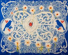 Blue Birds (Lace Series), acrylic on canvas, 2001 Robert Zakanitch (born is an American painter. Folk Art Flowers, Flower Art, Lace Painting, Pattern And Decoration, Artist At Work, Contemporary Artists, Blue Bird, Art Inspo, Cool Art