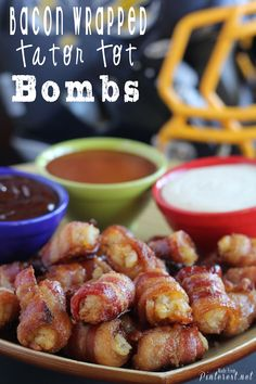 Bacon Wrapped Tater Tot Bombs Appetizer - making these for the Super Bowl!