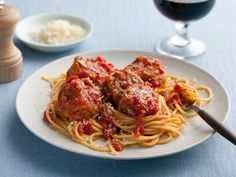 Spaghetti and No-Meat Balls recipe  via Food Network