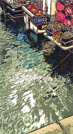 "Coyote Atelier printmaking inspiration: ""Shimmering Light"" linocut by H. Painting Prints, Art Prints, Block Prints, Paintings, Acevedo, Wood Engraving, Linocut Prints, Art Graphique, Woodblock Print"