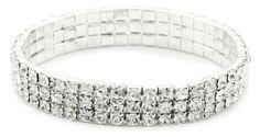 1928 Jewelry 3-Row Sparkling Silver-Tone Crystal Rhinestone Stretch Bangle Bracelet 1928 Jewelry. $22.00. Made in CN