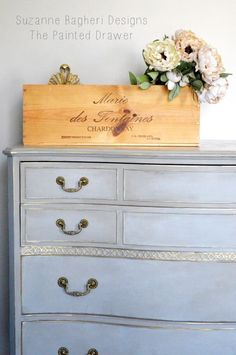 Vintage Bow Front Dresser in Annie Sloan Chalk Paint Diy Furniture Finishes, Chalk Paint Furniture, Furniture Makeover, Furniture Decor, City Furniture, Annie Chalk Paint, Blue Chalk Paint, Painted Drawers, Vintage Dressers