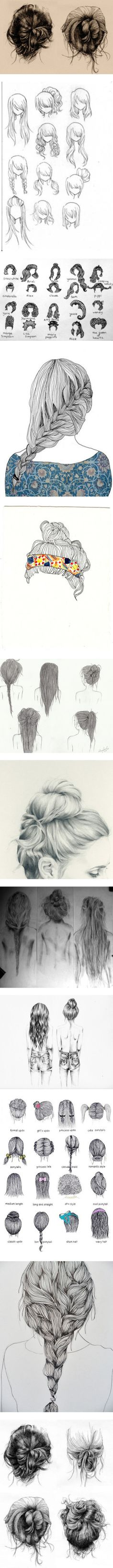 """""""Hair Sketches"""" by glitterfierce ❤ liked on Polyvore"""
