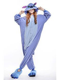 Kigurumi+Pyjama++nieuwe+Cosplay®+/+Monster+Gympak/Onesie+Festival/Feestdagen+Animal+Nachtkleding+Halloween+Blauw+Patchwork+Fleece+Kigurumi+–+EUR+€+39.19
