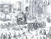 Der udkom beretninger om Christian 4.s kroning i 1596 på flere sprog, nogle illustreret med detaljerede kobberstik, der viste begivenhederne. På dette ses nederst processionen på vej til Vor Frue Kirke og t.h. ceremonien i kirken.
