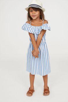 Dress with Flounce   White/blue striped   KIDS   H&M US
