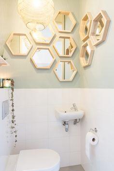 Toilet make over Studio blondhout make over toilet Over Toilet, Small Toilet, Bathroom Mirror Cabinet, Mirror Cabinets, Bathroom Storage, Toilet Room, Cabinet Lighting, Bathroom Toilets, Contemporary Bathrooms