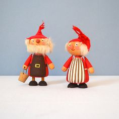 Vintage Hand Painted Swedish Tomte Couple