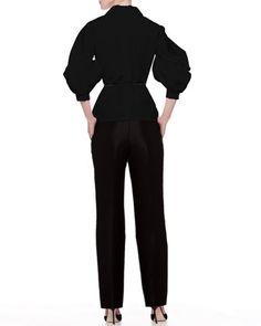 Carolina Herrera Silk Faille Balloon-Sleeve Blouse & Skinny Trouser Pants