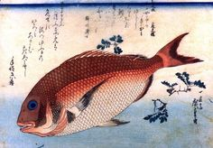Japanese Woodblock Print Hiroshige, A Shoal of Fishes Japanese Red Seabream Reproduction Print Poster Wall Art Home Decor