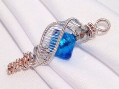 Blue Venetian Glass Silver Copper Wire Wrapped by XntricCreations