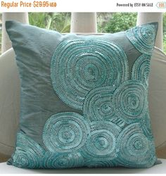 ON SALE 10% Morning Dew - 16x16 Sequins Embroidered Blue Throw Pillow Cover.