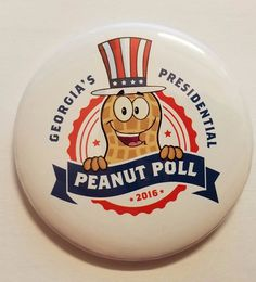 RARE! 2016 Georgia's Presidential Peanut Poll Campaign Button Trump Clinton