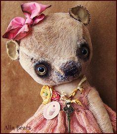 By Alla Bears Lg inch artist Sweet Old Teddy Bear art doll OOAK prim handmade toy baby Antique lace dress embroidery Easter Valentine Mini Teddy Bears, Bear Art, Toys Shop, Handmade Toys, Baby Toys, Art Dolls, Softies, Artist, Sculpture