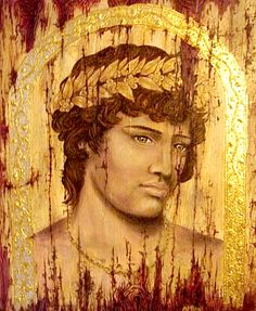 Antinous by Andrew Prior.This portrait is done in the style of the mummy portraits found in Alexandria and Antinoopolis.