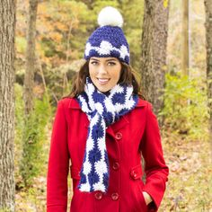 Premier® Yarns Serenity® Chunky Glitter Midnight Snowballs Hat  #crochet #pattern