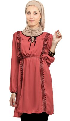 Mariam Long Embroidered Pink Islamic Tunic | Islamic Clothing for Women | Islamic Clothing at Artizara.com