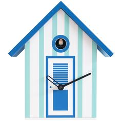 Progetti Bagni Nettuno Cuckoo Clock - White & Light Blue ($295) ❤ liked on Polyvore featuring home, home decor, clocks, blue, wooden home decor, wood clock, battery operated clocks, battery powered clock and light blue home decor