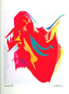 Archival+Abstract+Print++Dancing+Red++Abstract+by+modernmarks,+$18.00