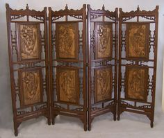 Large four panel Chinese mahogany screen room divider