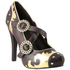 steampunk gown | Steel Brown Costume Shoes - Size 8