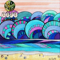 Sheeps on the raft sail in rough sea. Art, Painting, Markers
