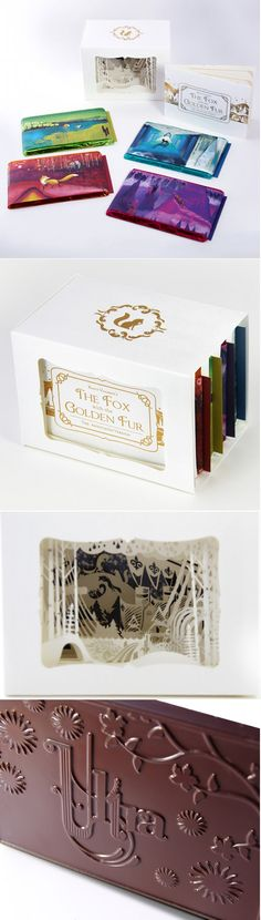 Elaborate chocolate packaging by Ultra Creative in Minneapolis. Inspired by fairy tales, The Fox with the Golden Fur is an amazing storybook, a paper-cut shadowbox and a set of illustrated chocolate wrappers.