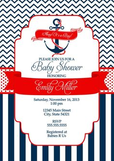 Nautical Baby shower invitations for boys
