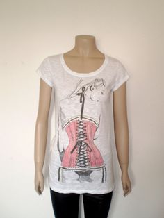 Red corset t shirt for women  white burnt out effect by librastyle, €15.00