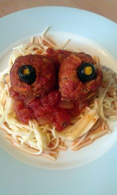 """Vickys Halloween Spaghetti & 'Eyeballs' (Meatballs), Gluten, Dairy, Egg & Soy-Free! """"So many things you can do with this kind of recipe. You can mould all sorts of shapes like how about a rat or a creepy severed foot? Served with the sauce underneath and features made from other ingredients,your creepy Halloween meal is sorted!""""  @allthecooks #recipe #halloween"""