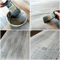 How to make new lumber look like weathered barnwood Pat and I will do this on the old floor in house, but go with redwood colors. OMG first to try this in the pantry floor, then when we know what we like, keep going!!!! HURRAH
