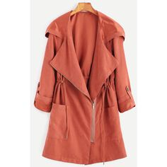 SheIn(sheinside) Brick Red Suede Asymmetric Zip Hooded Coat (42 BAM) via Polyvore featuring outerwear, coats, red, asymmetrical zipper coat, red coat, long suede coat, zipper coat and collar coat