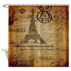scripts elegant paris Eiffel tower Shower Curtain on CafePress.com