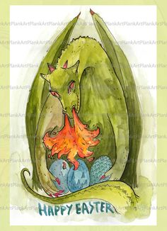 Happy Easter Card // Fantasy card with Dragon // by PlankArt