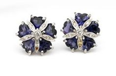 18k White Gold Mini Sand Dollar Earrings with Iolite and Diamonds