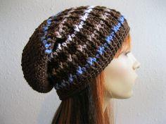 Crocheted Slouchy Beanie Chocolate Brown Urban Style Striped Unisex Rasta Tam Beret - Ready to Ship
