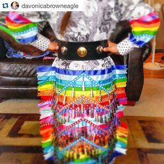 with ・・・ It fits her just awesome! How To Make Ribbon, Ribbon Work, Dance Outfits, Dance Dresses, Jingle Dress Dancer, Powwow Regalia, Native Wears, Native American Regalia, Ribbon Skirts