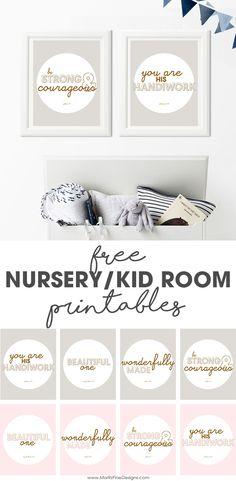 nursery & kid room wall decor |  free printables | bible verse inspiration | cute boy and girl room decorations