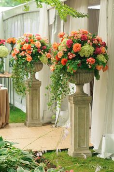 A Tuscan-Inspired Late Summer Wedding - Wedding floral arrangements - Wedding Large Flower Arrangements, Wedding Flower Arrangements, Large Flowers, Wedding Centerpieces, Tall Centerpiece, Fresh Flowers, Silk Flowers, Altar Flowers, Church Flowers