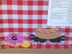 Picnic calendar board,  ants, food, cricut fast food cartridge